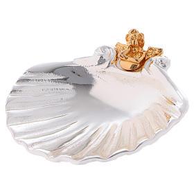Coquillage baptismal avec ange doré s1