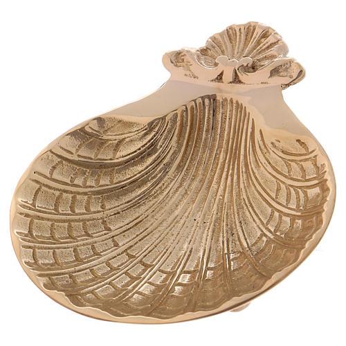 Conchiglia battesimo ottone dorato tre piedini 13x11 cm 1