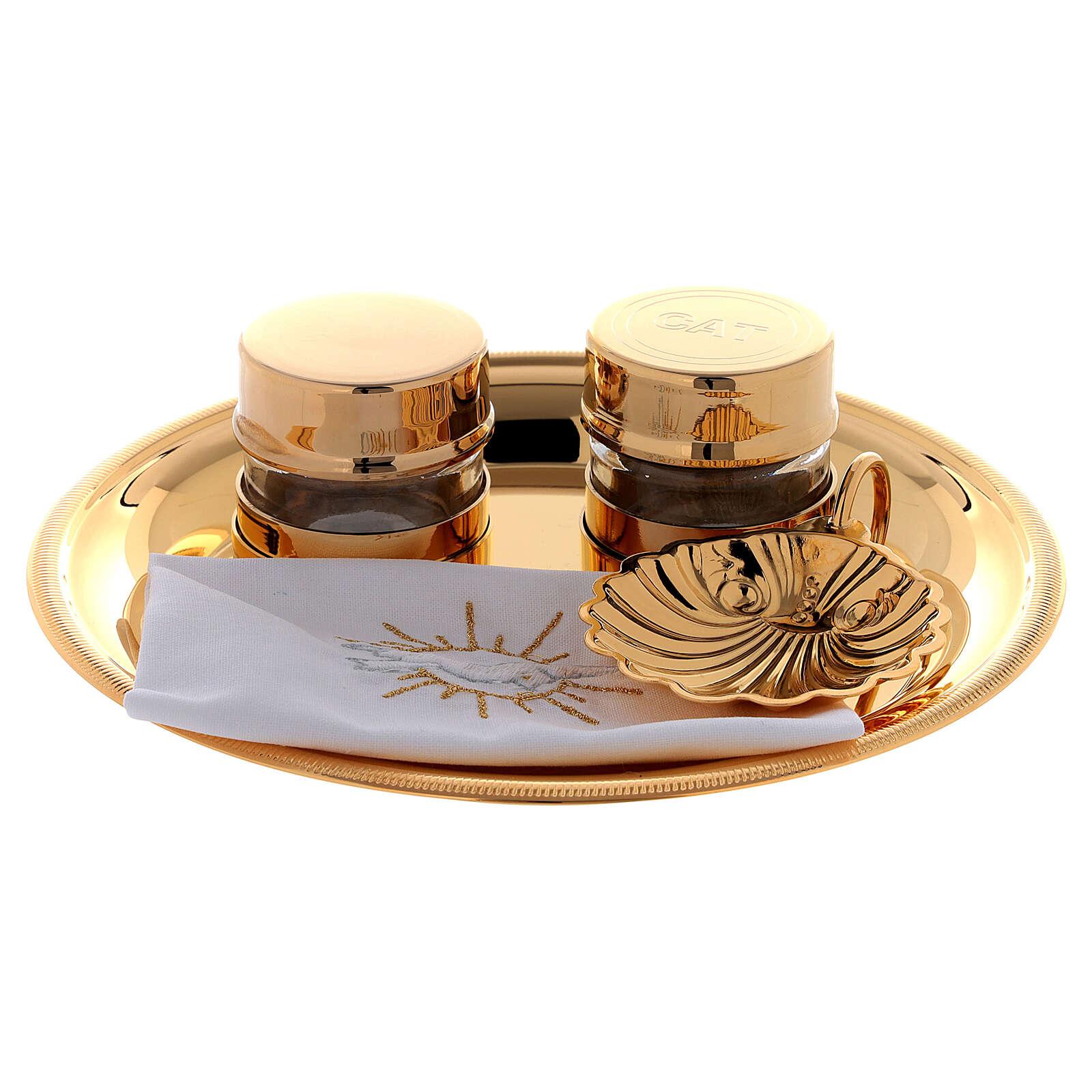 Baptism oils kit in golden brass 24K 3