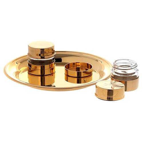 Baptism oils kit in golden brass 24K 2