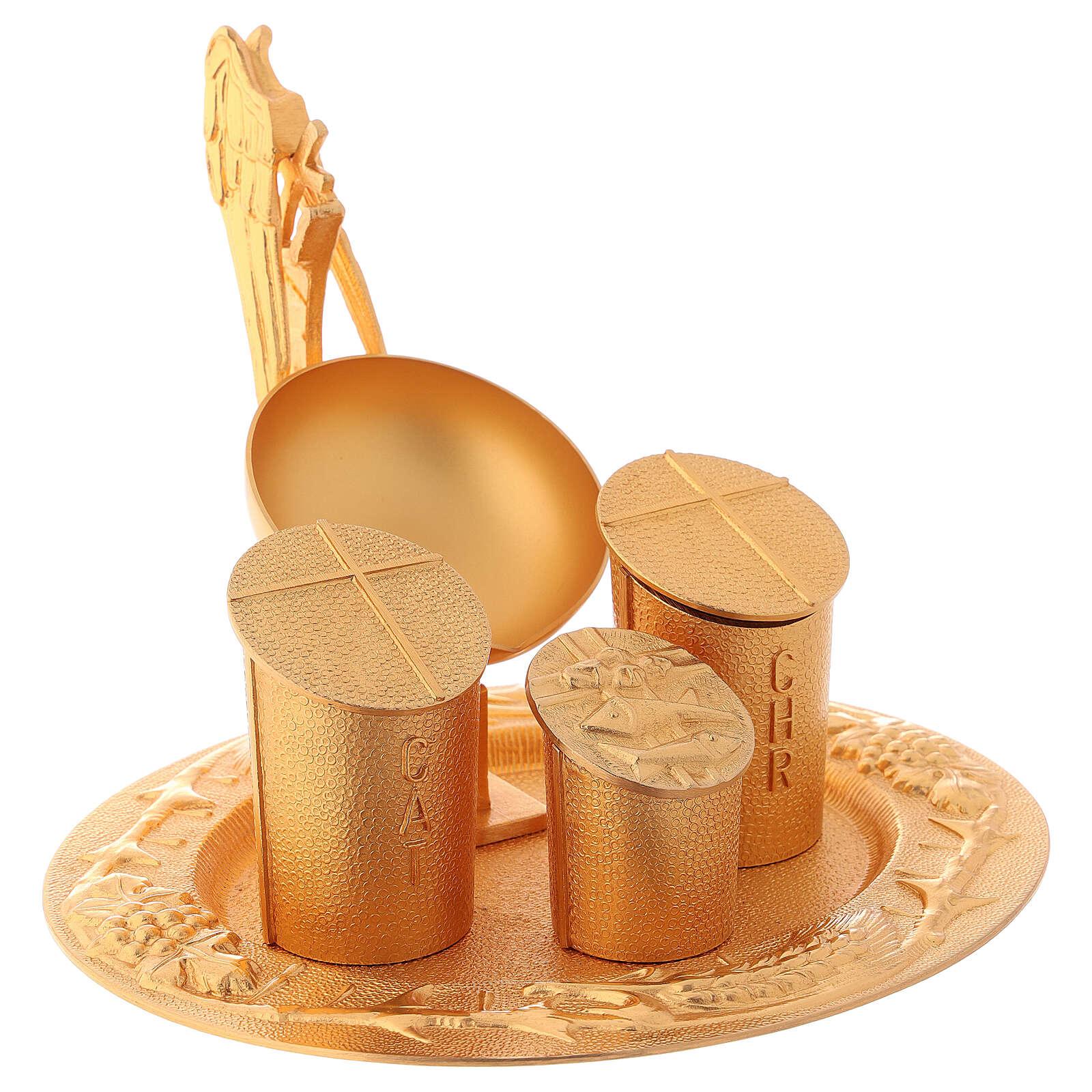 Servicio bautismal dorado latón fundido 3