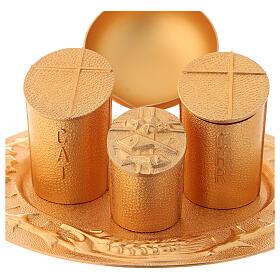 Servicio bautismal dorado latón fundido s2