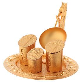 Servicio bautismal dorado latón fundido s3