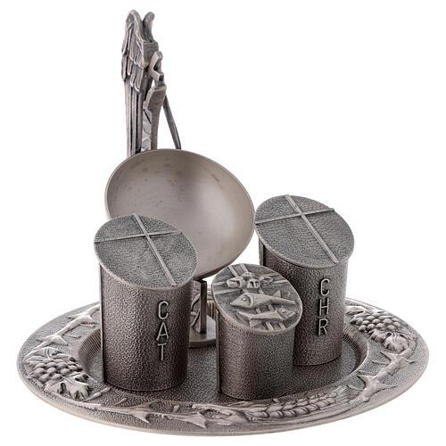 Set baptismal argenté laiton moulé 4