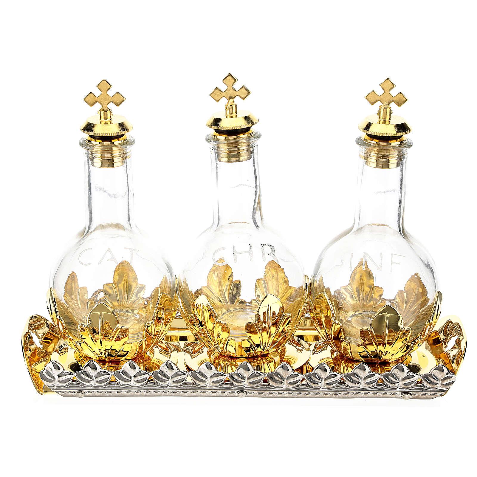 Estuche cuero sintético 3 frascos para óleos santos 100 ml 3