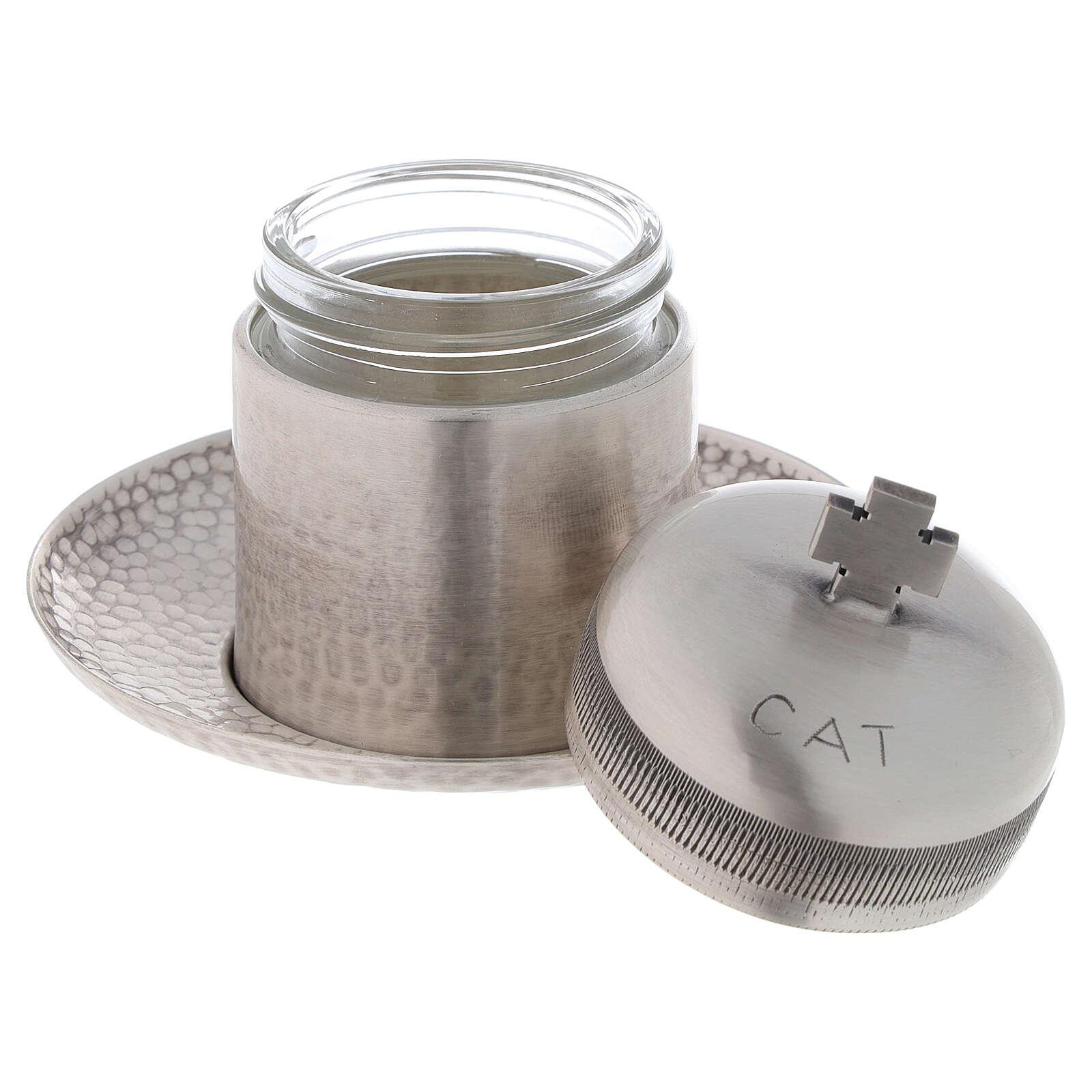 Vase huiles catéchumènes laiton argenté 50 ml 3