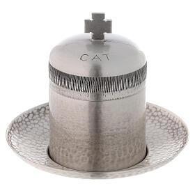 Vase huiles catéchumènes laiton argenté 50 ml s1