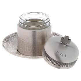 Vase huiles catéchumènes laiton argenté 50 ml s2