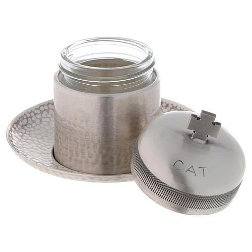 Vase huiles catéchumènes laiton argenté 50 ml 2