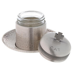 Vaso óleo dos Catecúmenos latão prateado 50 ml s2