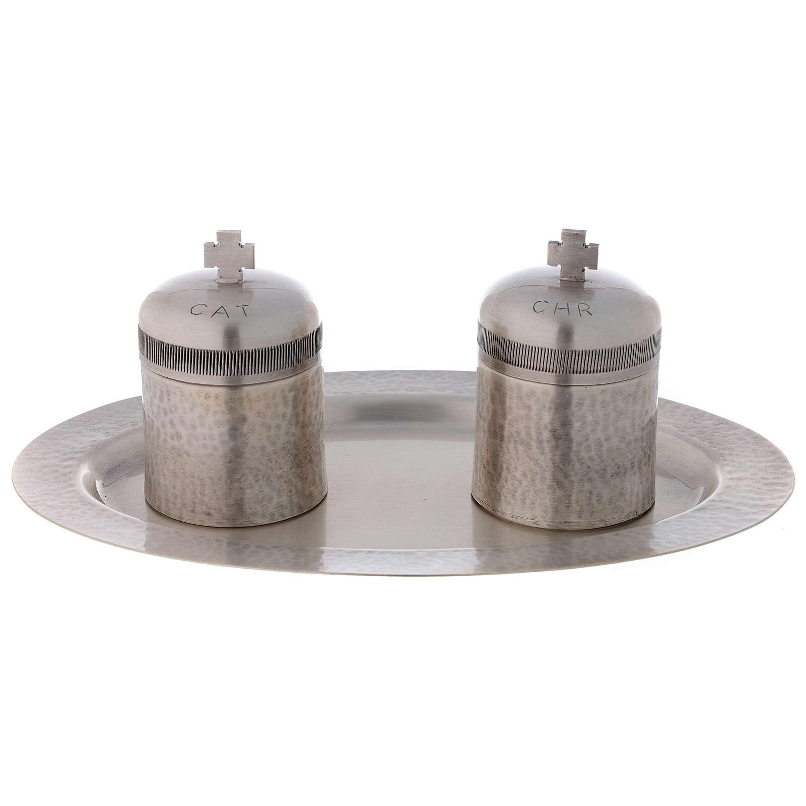 Conjunto dois vasos óleos santos latão prateado 50 ml 3