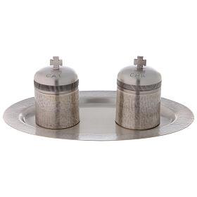 Conjunto dois vasos óleos santos latão prateado 50 ml s1