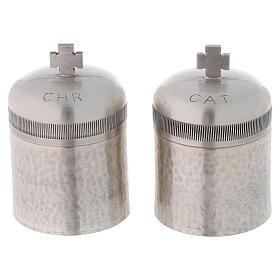 Conjunto dois vasos óleos santos latão prateado 50 ml s2