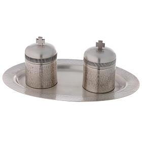 Conjunto dois vasos óleos santos latão prateado 50 ml s6