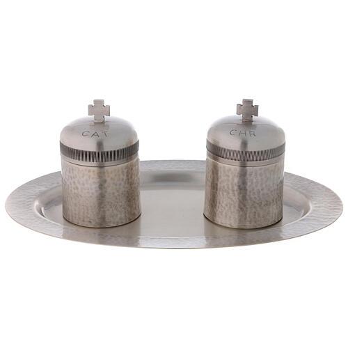 Conjunto dois vasos óleos santos latão prateado 50 ml 1