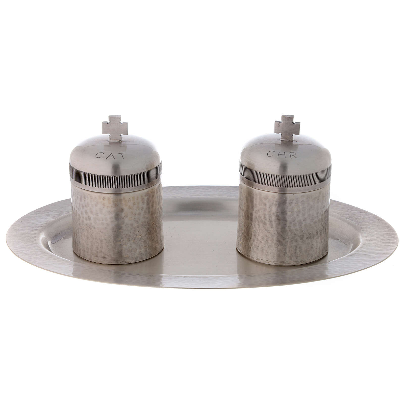Silver-plated brass double Holy oils stock 50 ml 3