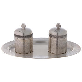 Silver-plated brass double Holy oils stock 50 ml s1