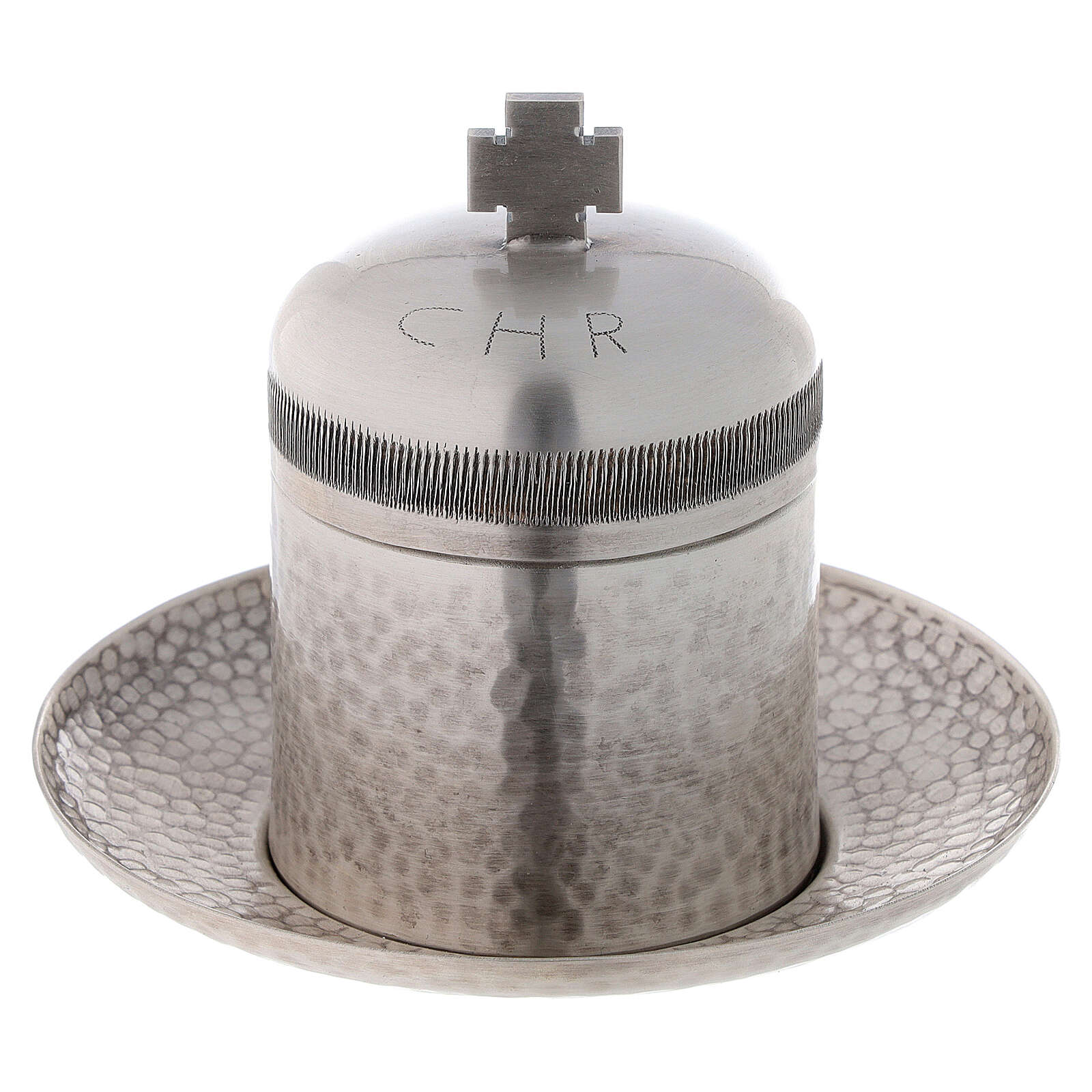 Sacred oil jar silvered brass Crisma 5 cc 3