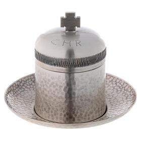 Sacred oil jar silvered brass Crisma 5 cc s1