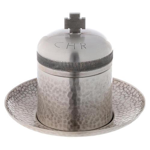Sacred oil jar silvered brass Crisma 5 cc 1