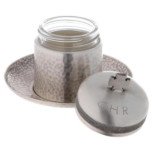 Sacred oil jar silvered brass Crisma 5 cc 2