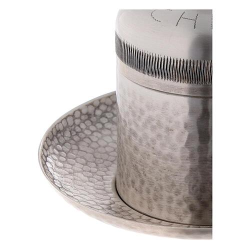 Sacred oil jar silvered brass Crisma 5 cc 4