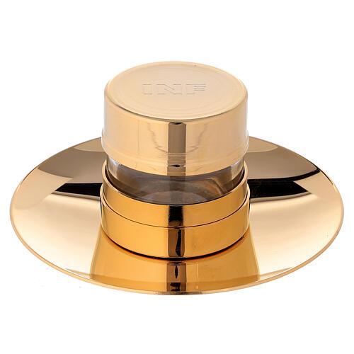 Vase Huiles Saintes INF doré avec assiette 1
