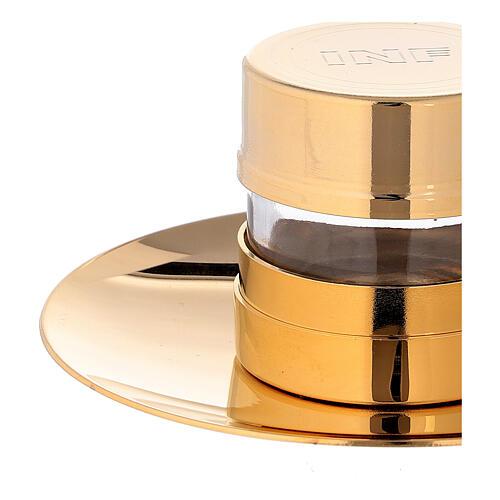 Vase Huiles Saintes INF doré avec assiette 4