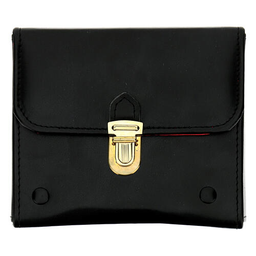 Holy oil case in black leather with three oil stocks of 125 ml 1