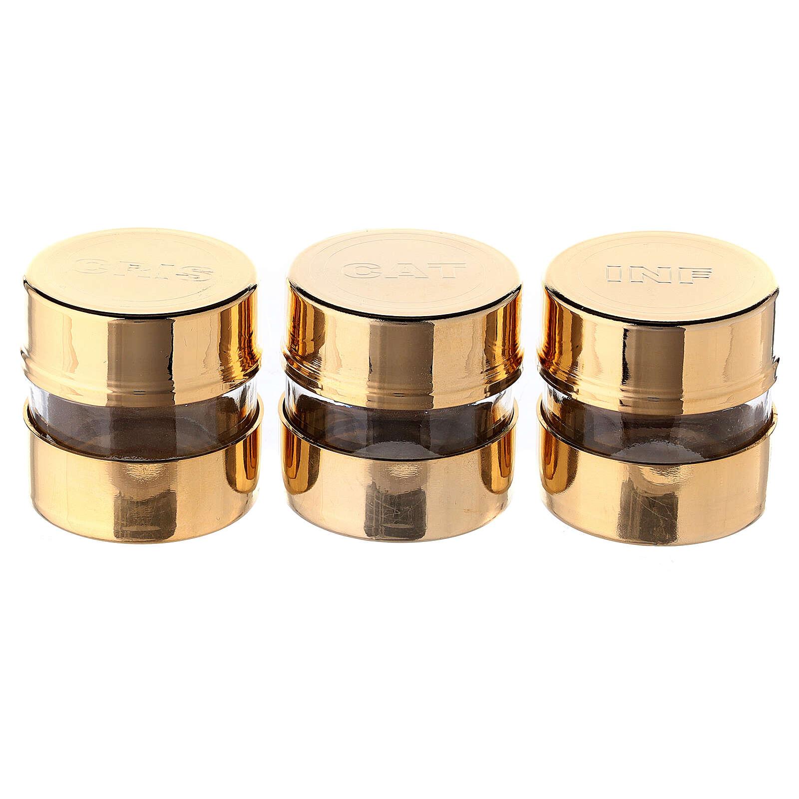 Set tres frascos para santos óleos con incisión pantografada 3