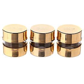 Set tres frascos para santos óleos con incisión pantografada s1
