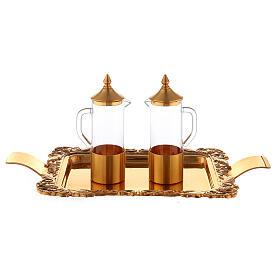 Servicio vinajeras latón dorado realizado a mano s1