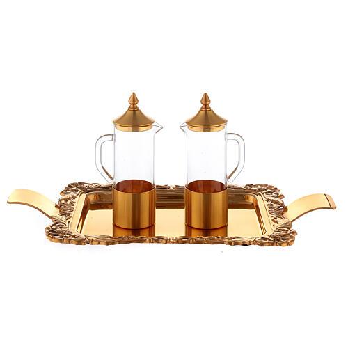 Servicio vinajeras latón dorado realizado a mano 1