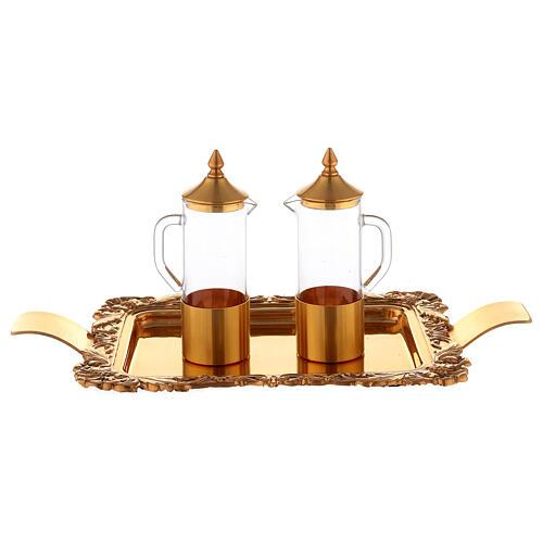 Servicio vinajeras latón dorado realizado a mano 3