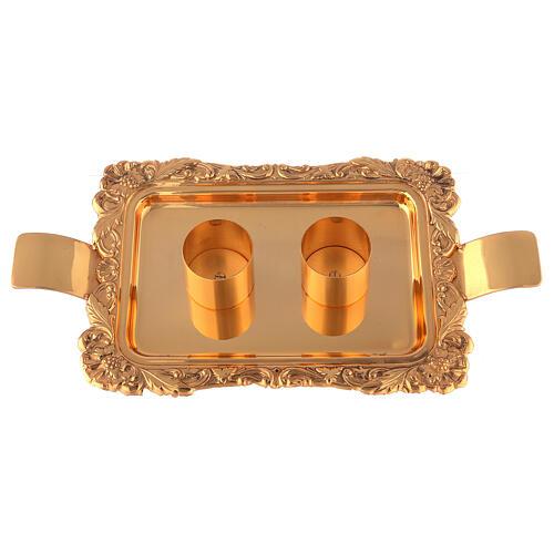 Servicio vinajeras latón dorado realizado a mano 4