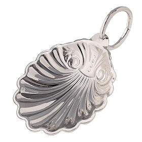 Baptismal shell in silver-plated finish with ring handle s1