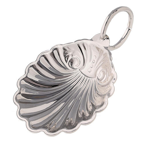 Baptismal shell in silver-plated finish with ring handle 1