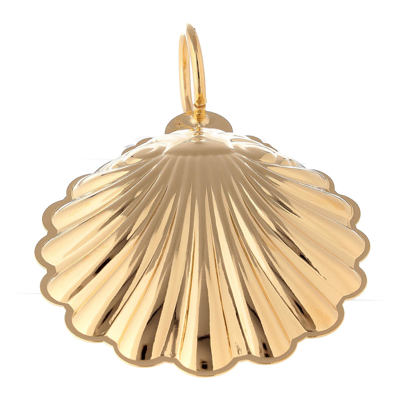 Concha bautismal 9 cm latón dorado 24K 3