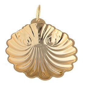 Concha bautismal 9 cm latón dorado 24K s2