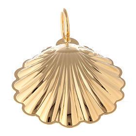 Concha bautismal 9 cm latón dorado 24K s3