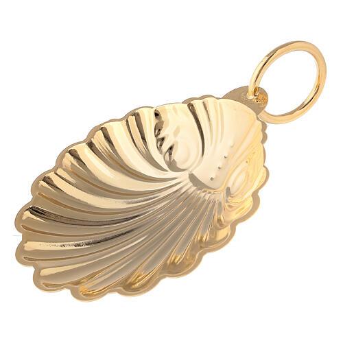 Concha bautismal 9 cm latón dorado 24K 1
