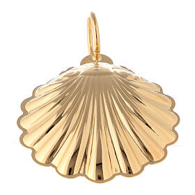 Baptismal shell 3 1/2 in 24-karat gold plated brass s3