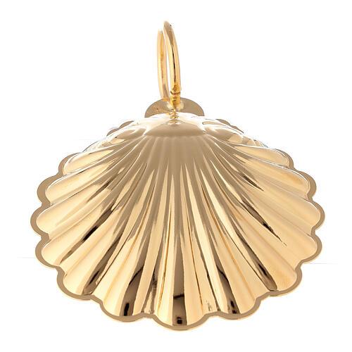Baptismal shell 3 1/2 in 24-karat gold plated brass 3