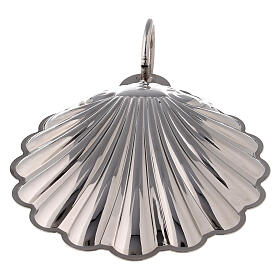 Baptismal shell silver-plated brass with handle s3