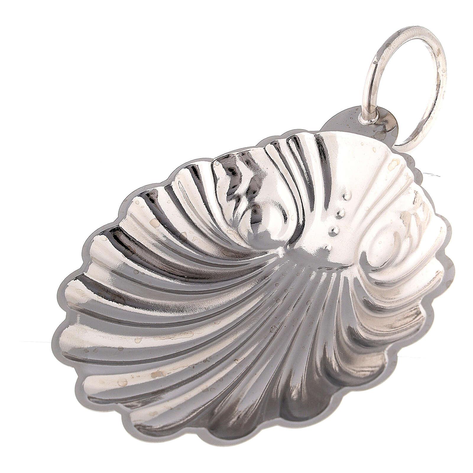 Silver plated brass baptismal shell 9 cm 3