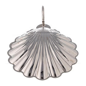 Silver plated brass baptismal shell 9 cm s3