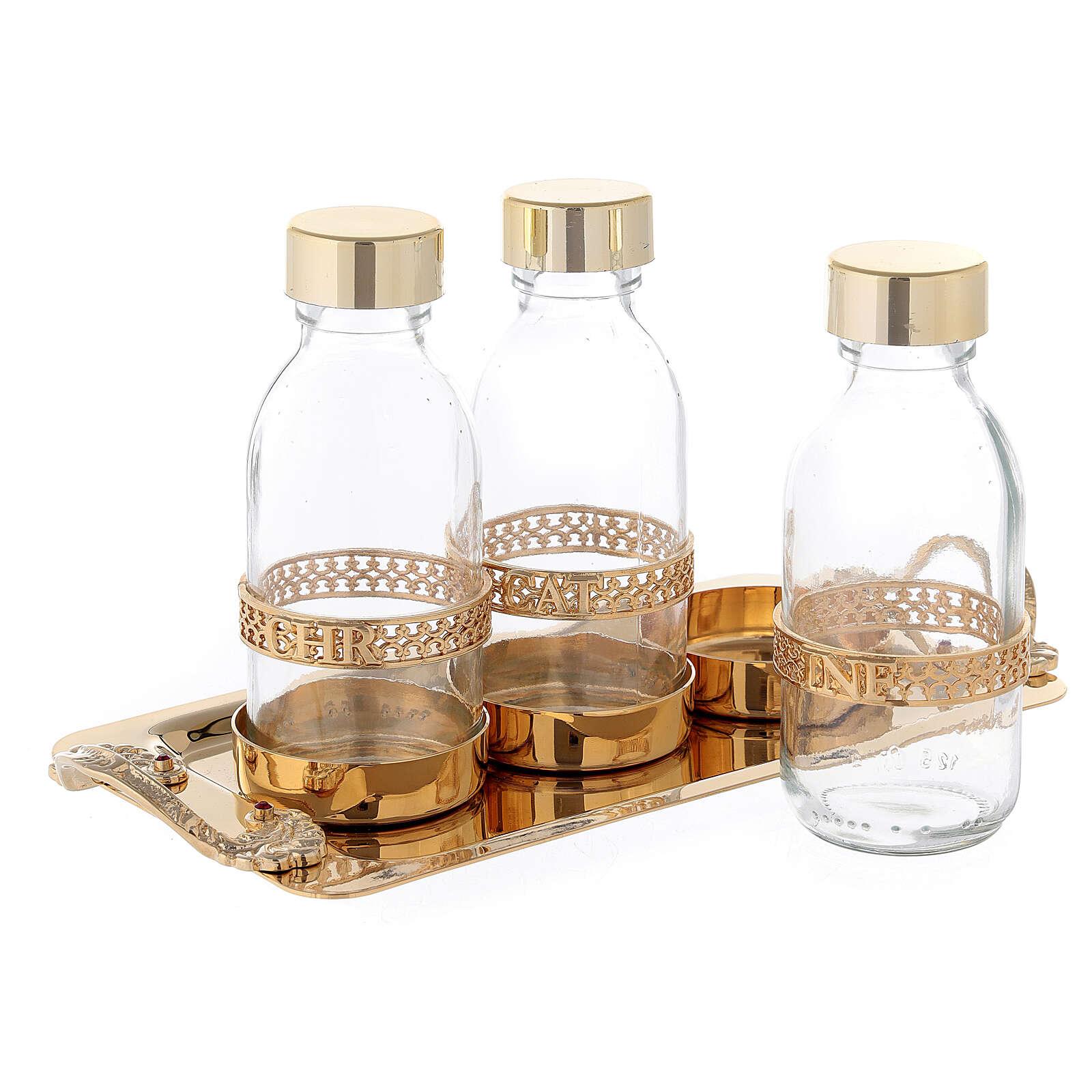 Holy oil set 24-karat gold plated brass 3