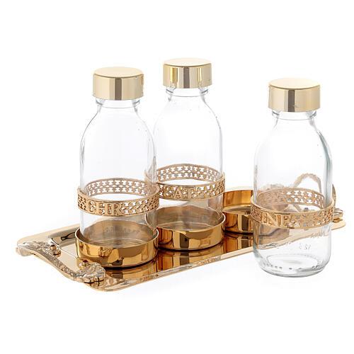 Holy oil set 24-karat gold plated brass 2