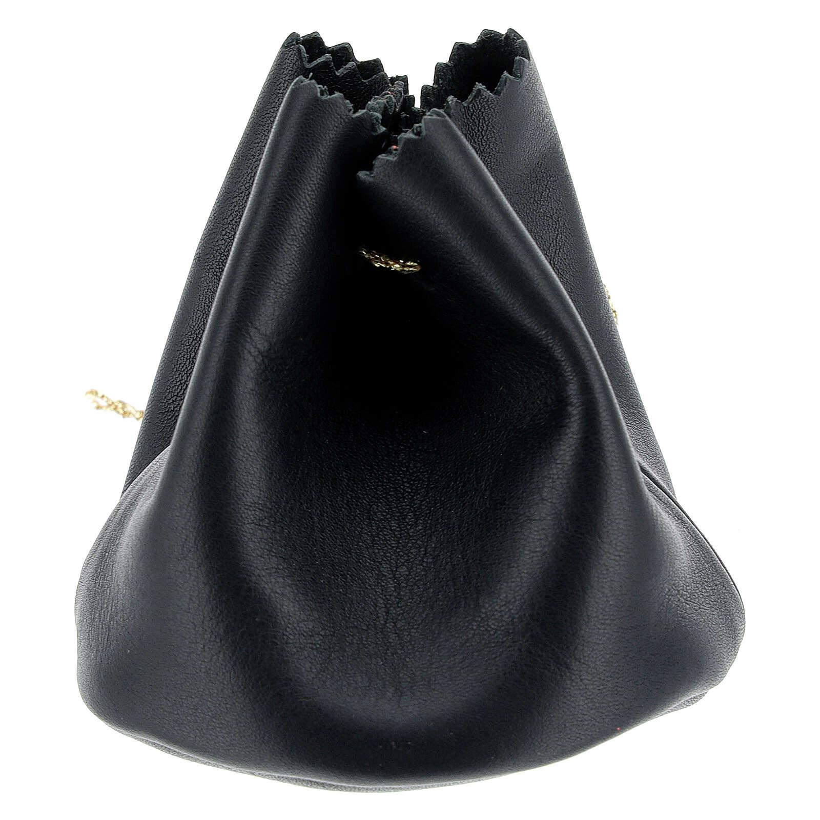 Sachet pour Huile Sainte en cuir véritable noir 3