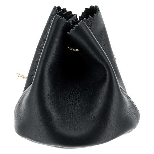Sachet pour Huile Sainte en cuir véritable noir 2